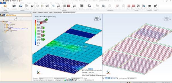 Advance Design Modul (ADM) – Návrh a posúdenie výstuže železobetónovej dosky